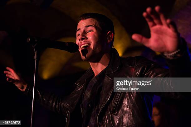 Musician Nick Jonas performs at Flaunt Magazine Hollywood Roosevelt Hotel and William Henry Release The Grind Issue Featuring Nick Jonas Album...