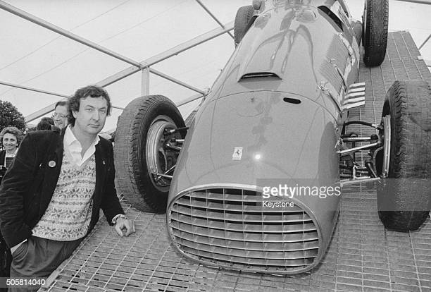 Musician Nick Mason of the band 'Pink Floyd' with his Ferrari 166 Corsa car at the Cartier's Homage to Ferrari exhibition at the Cartier Foundation...