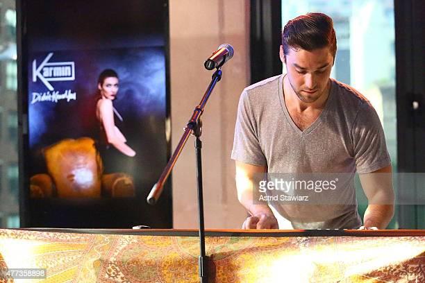 Musician Nick Noonan of Karmin performs at AOL BUILD Speaker Series Karmin at AOL Studios In New York on June 16 2015 in New York City