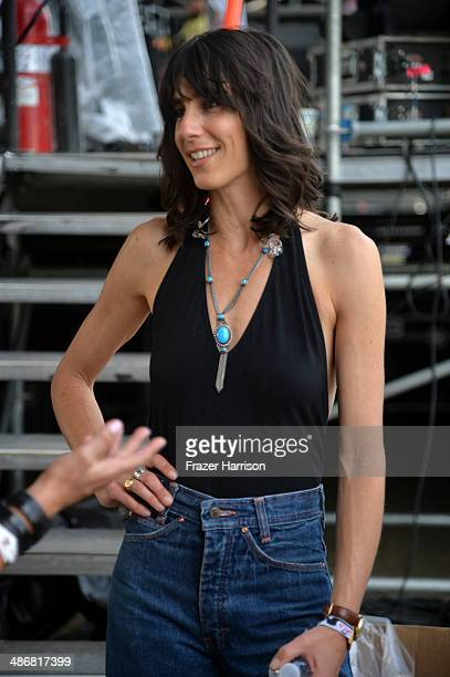 Musician Nicki Bluhm of Nicki Bluhm The Gramblers poses backstage during day 1 of 2014 Stagecoach California's Country Music Festival at the Empire...