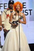 Musician Nicki Minaj accepts the awards for Best Female Hip Hop Artist during the 2010 BET Awards held at the Shrine Auditorium on June 27 2010 in...