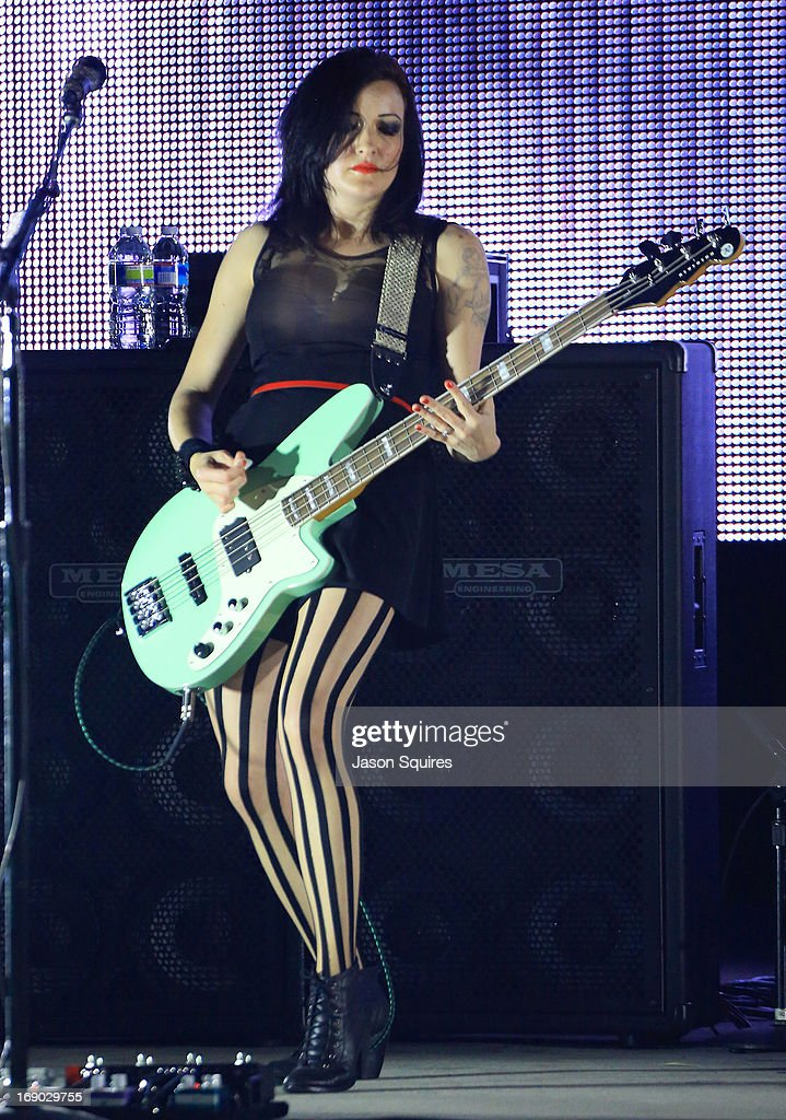 Musician <a gi-track='captionPersonalityLinkClicked' href=/galleries/search?phrase=Nicole+Fiorentino&family=editorial&specificpeople=7118994 ng-click='$event.stopPropagation()'>Nicole Fiorentino</a> of The Smashing Pumpkins performs during 2013 Rock On The Range at Columbus Crew Stadium on May 18, 2013 in Columbus, Ohio.