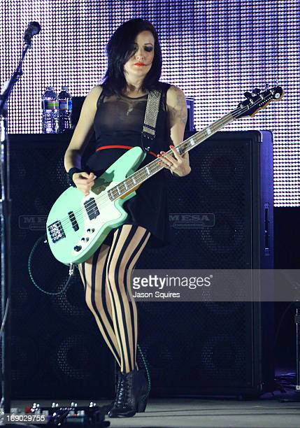 Musician Nicole Fiorentino of The Smashing Pumpkins performs during 2013 Rock On The Range at Columbus Crew Stadium on May 18 2013 in Columbus Ohio