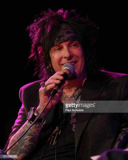 Musician Nikki Sixx speaks at the Musicians Institute's conversation series presented by 987FM at Musicians Institute Concert Hall on November 4 2011...