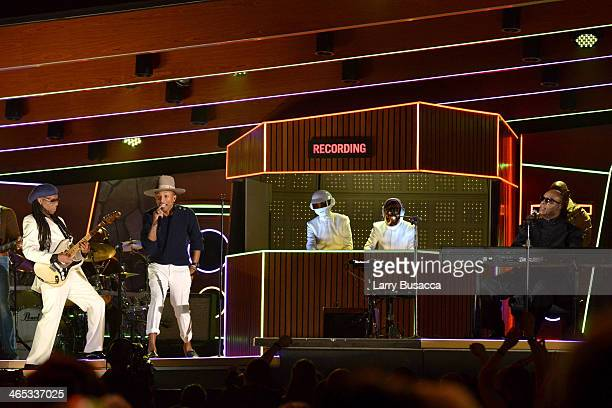 Musician Nile Rodgers and recording artist Pharrell Williams Daft Punk's Thomas Bangalter and GuyManuel de HomemChristo and Stevie Wonder perform...