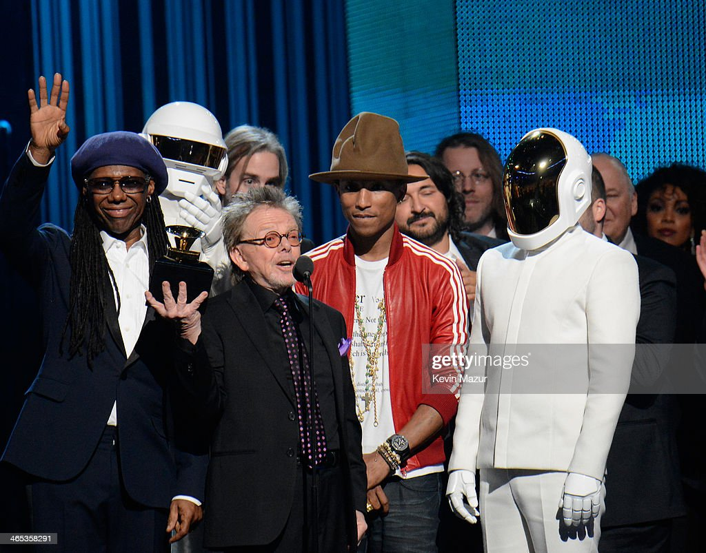 Musician <a gi-track='captionPersonalityLinkClicked' href=/galleries/search?phrase=Nile+Rodgers&family=editorial&specificpeople=217582 ng-click='$event.stopPropagation()'>Nile Rodgers</a>, Daft Punk's Thomas Bangalter, songwriter Paul Williams, recording artist <a gi-track='captionPersonalityLinkClicked' href=/galleries/search?phrase=Pharrell+Williams&family=editorial&specificpeople=161396 ng-click='$event.stopPropagation()'>Pharrell Williams</a> and Daft Punk's <a gi-track='captionPersonalityLinkClicked' href=/galleries/search?phrase=Guy-Manuel+de+Homem-Christo&family=editorial&specificpeople=4018905 ng-click='$event.stopPropagation()'>Guy-Manuel de Homem-Christo</a> speak onstage during the 56th GRAMMY Awards at Staples Center on January 26, 2014 in Los Angeles, California.