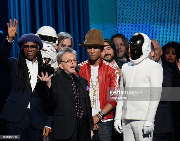 Musician Nile Rodgers Daft Punk's Thomas Bangalter songwriter Paul Williams recording artist Pharrell Williams and Daft Punk's GuyManuel de...
