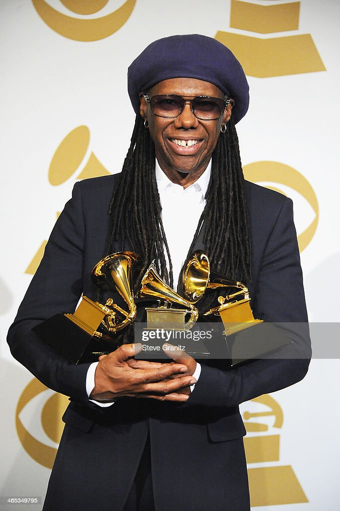 Musician <a gi-track='captionPersonalityLinkClicked' href=/galleries/search?phrase=Nile+Rodgers&family=editorial&specificpeople=217582 ng-click='$event.stopPropagation()'>Nile Rodgers</a> poses in the press room during th 56th GRAMMY Awards at Staples Center on January 26, 2014 in Los Angeles, California.