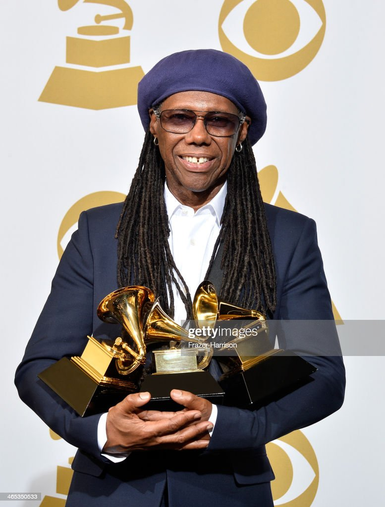 Musician <a gi-track='captionPersonalityLinkClicked' href=/galleries/search?phrase=Nile+Rodgers&family=editorial&specificpeople=217582 ng-click='$event.stopPropagation()'>Nile Rodgers</a> poses in the press room during the 56th GRAMMY Awards at Staples Center on January 26, 2014 in Los Angeles, California. The musician won the Best Record of the Year Award for 'Get Lucky', the Album of the Year Award for 'Random Access Memories', the Best Pop Duo/Group Performance Award for 'Get Lucky', and the Best Dance/Electronica Album Award for 'Random Access Memories'.