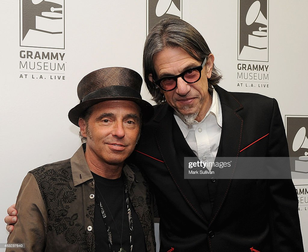 Musician Nils Lofgren (L) and Vice President of the GRAMMY Foundation Scott Goldman pose before An Evening With Nils Lofgren at The GRAMMY Museum on August 5, 2014 in Los Angeles, California.