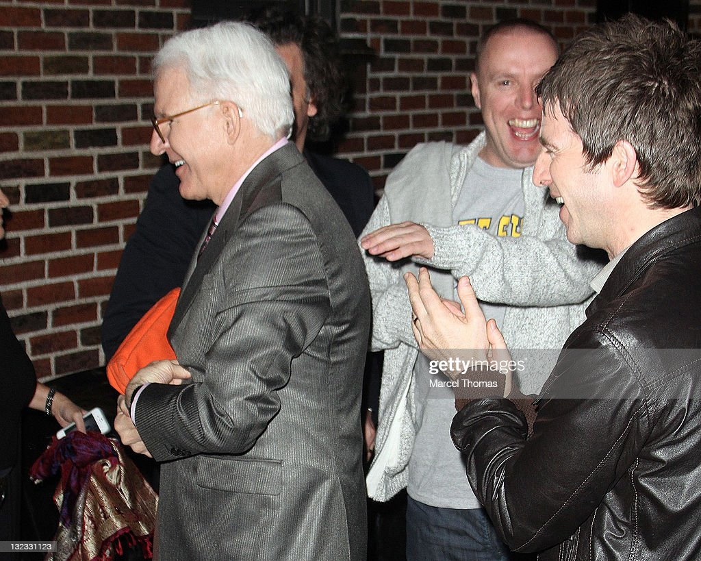 Musician Noel Gallagher and actor Steve Martin are seen leaving the 'Late Show With David Letterman' at the Ed Sullivan Theater on November 10, 2011 in New York City.
