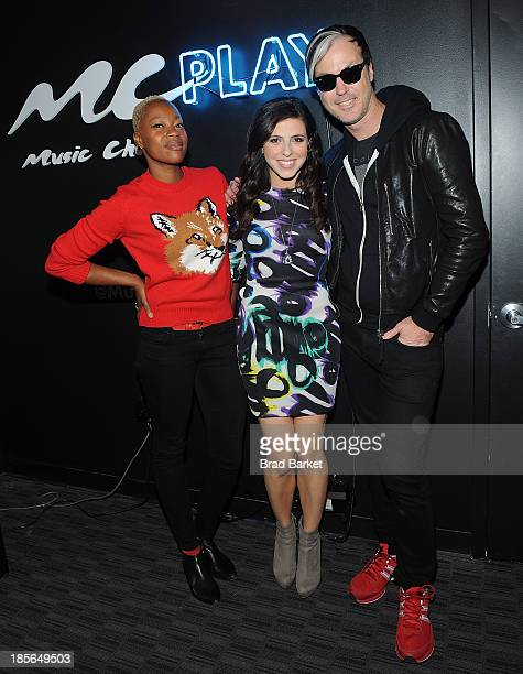 Musician Noelle Scaggs Television host Clare Galterio and Michael Fitzpatrick of the music group Fitz The Tantrums stop by Music Choice Play for 'You...