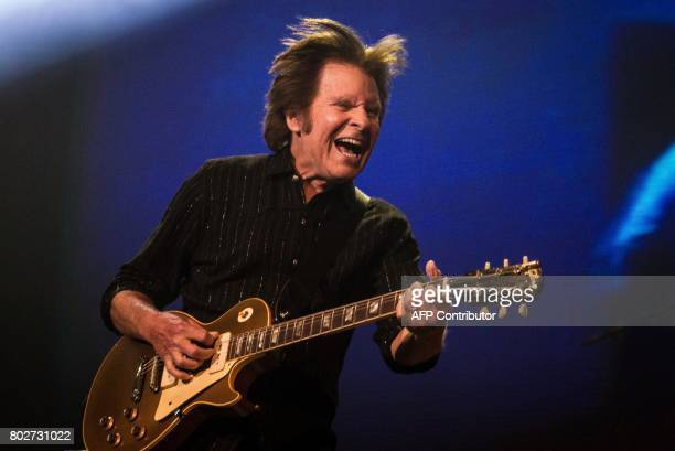 US musician of Creedence Clearwater Revival John Fogerty plays guitar during a concert at The Ziggo Dome in Amsterdam on June 28 2017 / AFP PHOTO /...