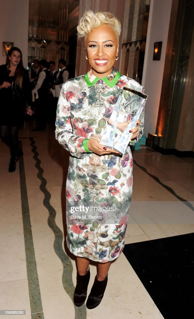 Musician of the Year winner Emeli Sande poses at the Harper's Bazaar Women of the Year Awards 2012, in association with Estee Lauder, Harrods and Tiffany & Co., at Claridge's Hotel on October 31, 2012 in London, England.