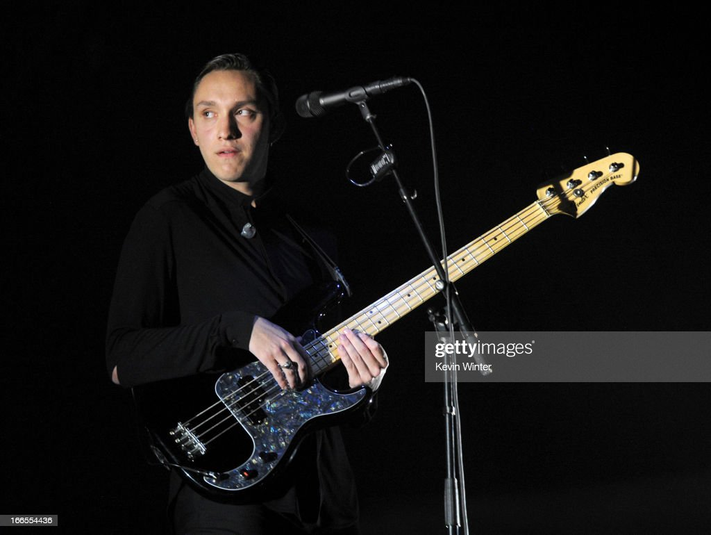 Musician Oliver Sim of the band The xx performs onstage during day 2 of the 2013 Coachella Valley Music Arts Festival at the Empire Polo Club on...