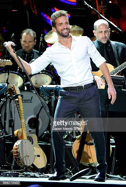 Musician Pablo Alboran performs onstage during the 2014 Person of the Year honoring Joan Manuel Serrat at the Mandalay Bay Events Center on November...