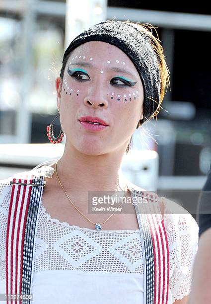 Musician Pamela Jintana Racine of Gogol Bordello poses backstage during Day 2 of the Coachella Valley Music Arts Festival 2011 held at the Empire...
