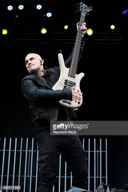Musician Paolo Gregoletto from Trivium performs during the 'Louder Than Life' festival at Champions Park on October 3 2015 in Louisville Kentucky