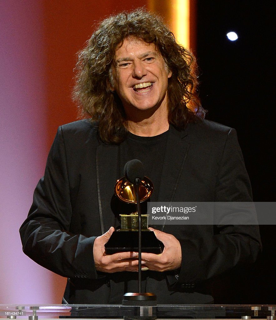 Musician <a gi-track='captionPersonalityLinkClicked' href=/galleries/search?phrase=Pat+Metheny&family=editorial&specificpeople=543149 ng-click='$event.stopPropagation()'>Pat Metheny</a>, winner of Best Jazz Instrumental Album, onstage at the The 55th Annual GRAMMY Awards at Nokia Theatre on February 10, 2013 in Los Angeles, California.