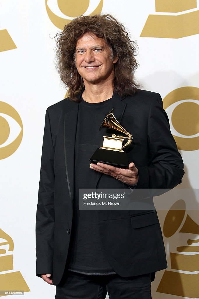 Musician Pat Metheny, winner of Best Jazz Instrumental Album, poses in the press room at the 55th Annual GRAMMY Awards at Staples Center on February 10, 2013 in Los Angeles, California.