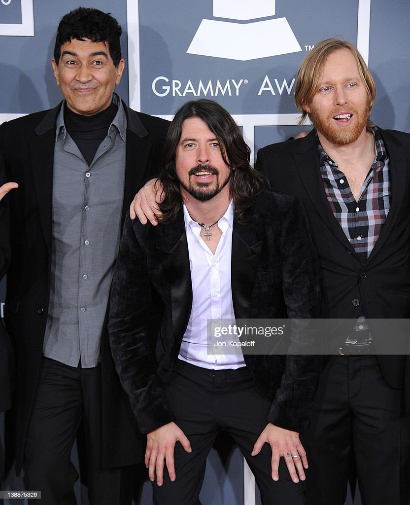 Musician Pat Smear, Dave Grohl and Nate Mendel of the Foo Fighters arrive at 54th Annual GRAMMY Awards held the at Staples Center on February 12, 2012 in Los Angeles, California.