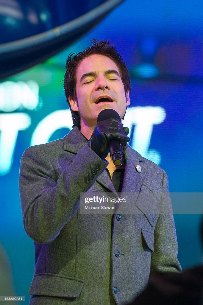 Musician Patrick Monahan of Train performs during New Year's Eve 2013 In Times Square at Times Square on December 31, 2012 in New York City.