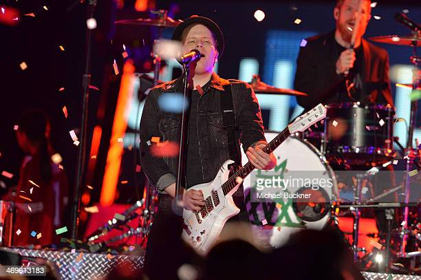Musician Patrick Stump of Fall Out Boy performs onstage during Cartoon Network's fourth annual Hall of Game Awards at Barker Hangar on February 15...