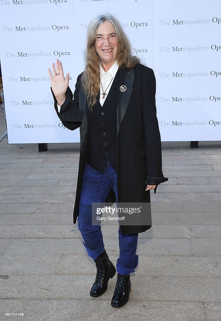 Musician <a gi-track='captionPersonalityLinkClicked' href=/galleries/search?phrase=Patti+Smith+-+Godmother+of+Punk&family=editorial&specificpeople=221285 ng-click='$event.stopPropagation()'>Patti Smith</a> attends the season opening performance of Tchaikovsky's 'Eugene Onegin' at The Metropolitan Opera House on September 23, 2013 in New York City.