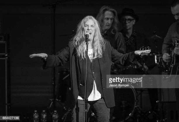 Musician Patti Smith performs at the Tibet House US 30th Anniversary Benefit Concert Gala Celebrating Philip Glass's 80th Birthday on March 16 2017...