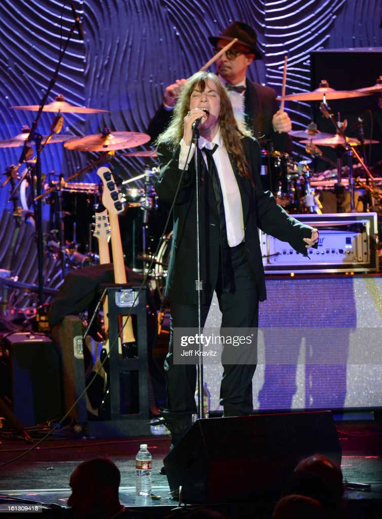 Musician <a gi-track='captionPersonalityLinkClicked' href=/galleries/search?phrase=Patti+Smith+-+Godmother+of+Punk&family=editorial&specificpeople=221285 ng-click='$event.stopPropagation()'>Patti Smith</a> performs onstage at Clive Davis and The Recording Academy's 2013 GRAMMY Salute to Industry Icons Gala held at The Beverly Hilton Hotel on February 9, 2013 in Beverly Hills, California.