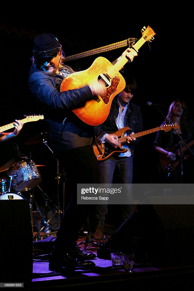 Musician Paul Chesne performs with Josh Norton and Katie Stratton of Beeswax at El Cid on November 15, 2013 in Los Angeles, California.