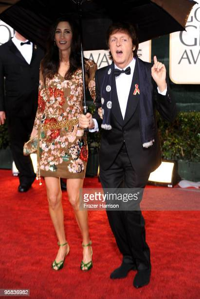 Musician Paul McCartney and girlfriend Nancy Shevell arrives at the 67th Annual Golden Globe Awards held at The Beverly Hilton Hotel on January 17...