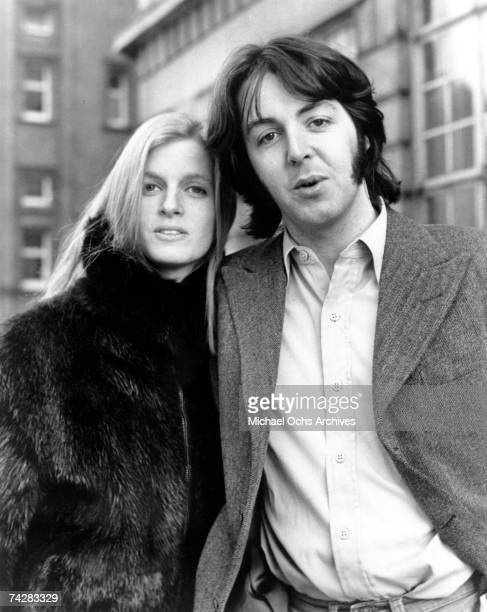 Musician Paul McCartney and his wife Linda McCartney pose for a portrait in circa 1973