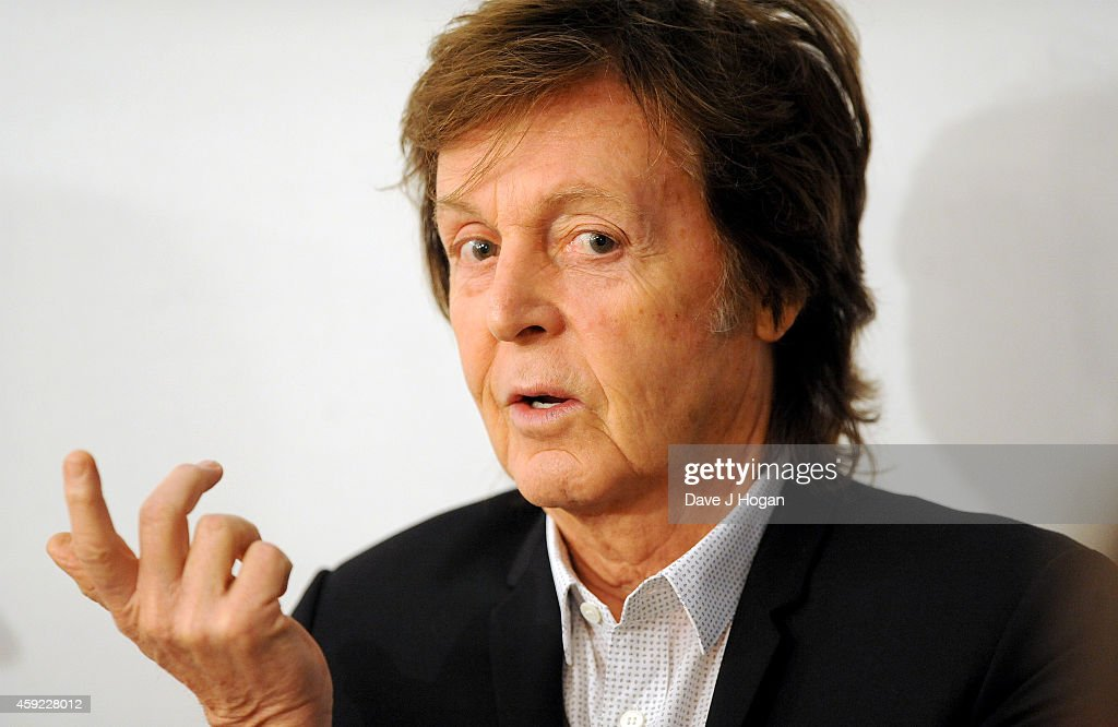 Musician <a gi-track='captionPersonalityLinkClicked' href=/galleries/search?phrase=Paul+McCartney&family=editorial&specificpeople=92298 ng-click='$event.stopPropagation()'>Paul McCartney</a> discusses his new song 'Hope For The Future', his first song for the computer game 'Destiny', with model Lily Cole and musicians from her Impossible website on November 19, 2014 in London, England.