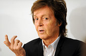 Musician Paul McCartney discusses his new song 'Hope For The Future' his first song for the computer game 'Destiny' with model Lily Cole and...