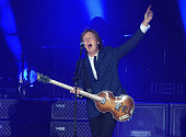 Musician Paul McCartney performs at Dodger Stadium on August 10 2014 in Los Angeles California