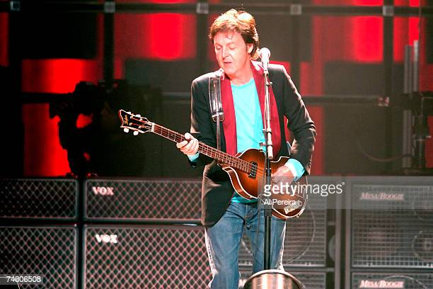 Musician Paul McCartney performs onstage at MCI Center on October 8 2005 in Washington DC