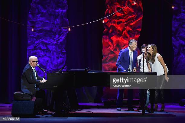 Musician Paul Shaffer performs while Fred Willard Tig Notaro and Heather McDonald sing backup onstage during the 9th Annual Comedy Celebration...