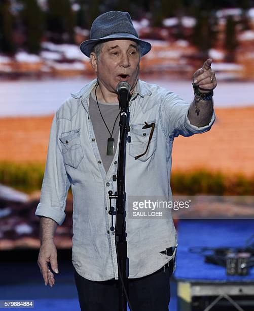 Musician Paul Simon rehearses at Wells Fargo Center venue for the upcoming Democratic National Convention in Philadelphia Pennsylvania July 24 2016...