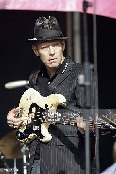 Musician Paul Simonen of The Good the Bad and The Queen performs on stage April 27 2008 at Victoria Park in London The festival marks 30th...