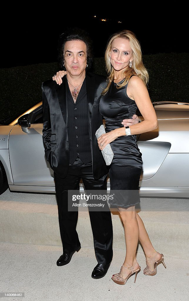 Musician Paul Stanley (L) and Erin Sutton arrive at Audi Arrivals at 20th annual Elton John AIDS Foundation Academy Awards viewing party on February 26, 2012 in Beverly Hills, California.
