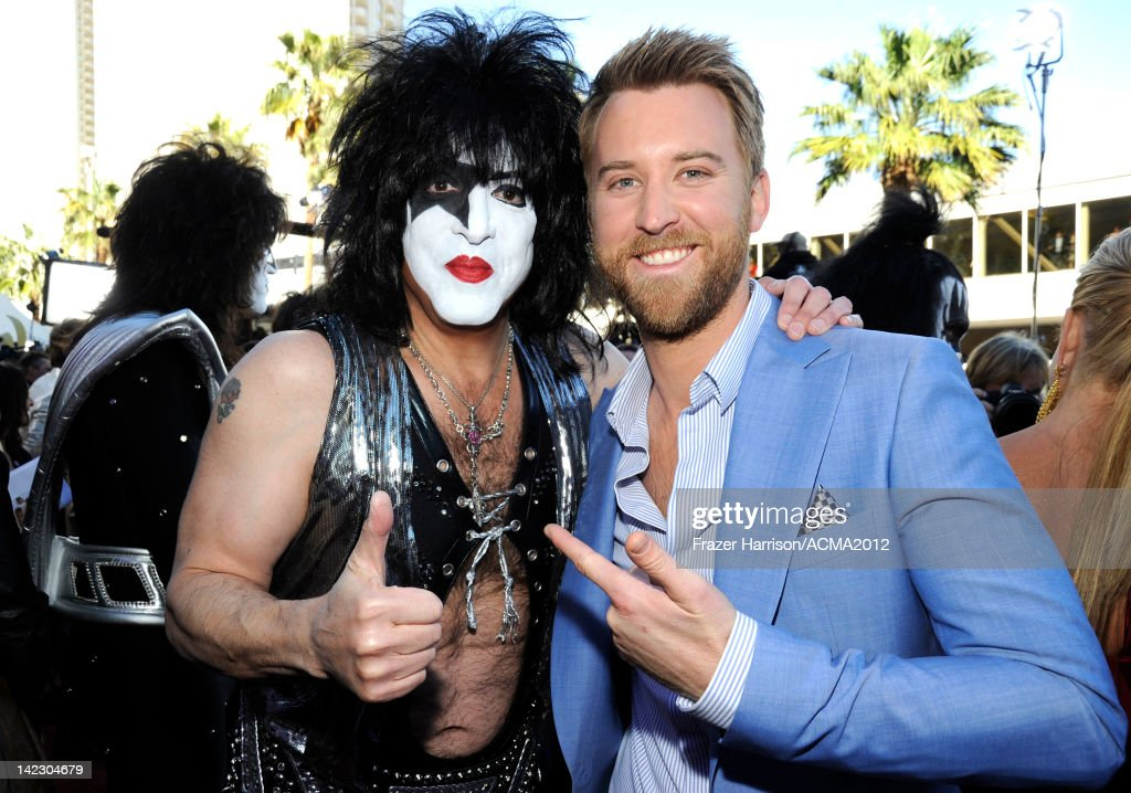 Musician Paul Stanley of the band KISS and singer <a gi-track='captionPersonalityLinkClicked' href=/galleries/search?phrase=Charles+Kelley&family=editorial&specificpeople=3935435 ng-click='$event.stopPropagation()'>Charles Kelley</a> of Lady Antebellum arrive at the 47th Annual Academy Of Country Music Awards held at the MGM Grand Garden Arena on April 1, 2012 in Las Vegas, Nevada.