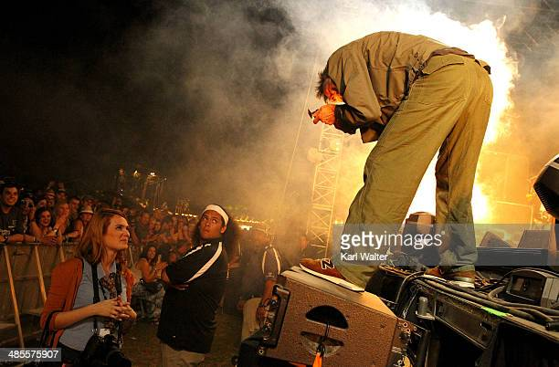 Musician Paul Westerberg of The Replacements takes a book of matches from Katie Stratton onstage during day 1 of the 2014 Coachella Valley Music Arts...