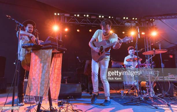 Musician Paul Wright and Tim Harrington of Tall Heights perform in concert during the 'Paper Airplane Request Tour' at Stubb's BarBQ on September 17...