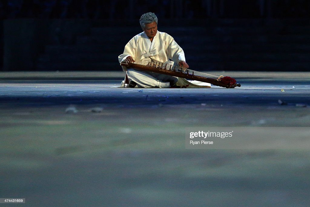 A musician performs during the Pyeongchang 2018 presentation as part of the 2014 Sochi Winter Olympics Closing Ceremony at Fisht Olympic Stadium on...