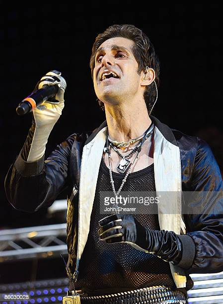 Musician Perry Farrell performs with the Theivery Corporation during day 2 of Coachella Valley Music Arts Festival 2009 at the Empire Polo Club on...