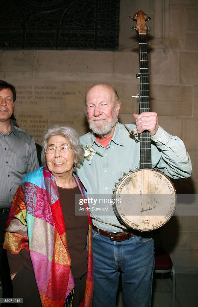 Musician <a gi-track='captionPersonalityLinkClicked' href=/galleries/search?phrase=Pete+Seeger&family=editorial&specificpeople=213821 ng-click='$event.stopPropagation()'>Pete Seeger</a> and wife <a gi-track='captionPersonalityLinkClicked' href=/galleries/search?phrase=Toshi+Seeger&family=editorial&specificpeople=5725604 ng-click='$event.stopPropagation()'>Toshi Seeger</a> attend the memorial celebration for Odetta at Riverside Church on February 24, 2009 in New York City.