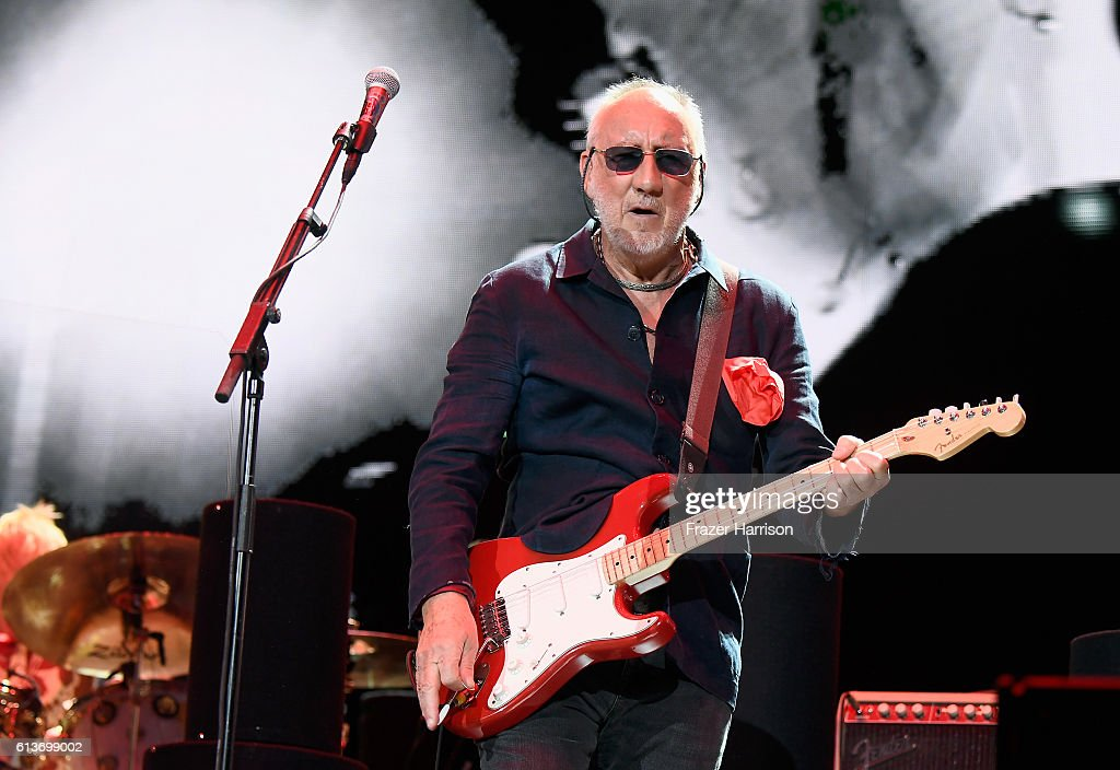 Musician Pete Townshend of The Who during Desert Trip at the Empire Polo Field on October 9, 2016 in Indio, California.