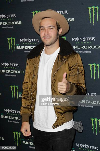 Musician Pete Wentz arrives at The Monster Energy Supercross at Angel Stadium of Anaheim on January 23 2016 in Anaheim California