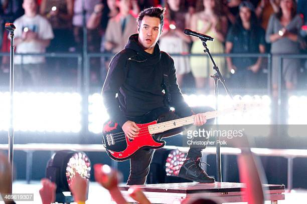 Musician Pete Wentz of Fall Out Boy performs onstage during Cartoon Network's fourth annual Hall of Game Awards at Barker Hangar on February 15 2014...